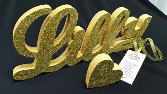 Gold Glitter Custom Name 3d Gold Lilly Letters Name Age Block 3d Numbers Large Free Standing Styrofo With Images Baby Shower Decorations Gold Glitter Shower Decorations