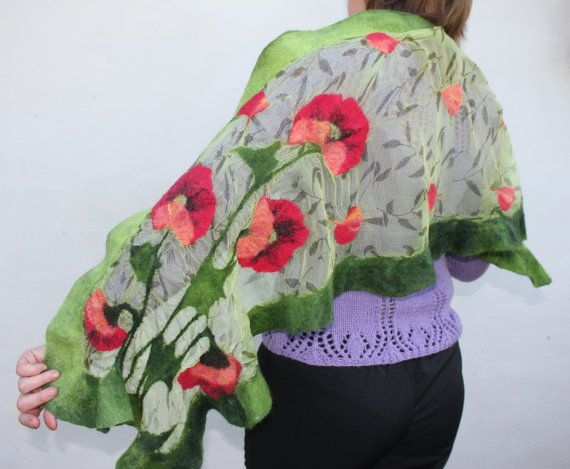 Nuno Felt Shawl OOAK / Nuno felted scarf with poppies by TaniaSh