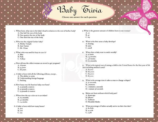 baby shower games baby shower baby trivia game card baby shower