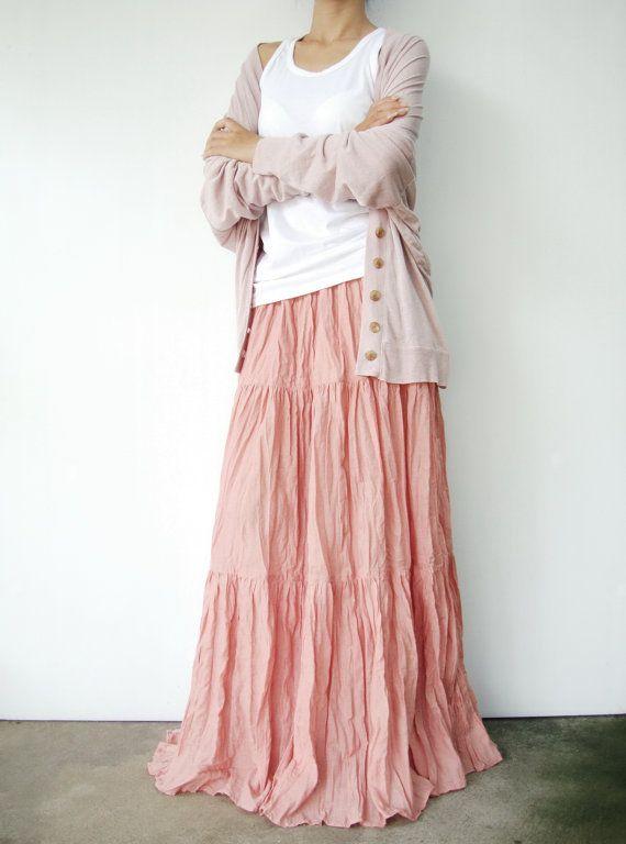 NO.5  Peach Cotton, Hippie Gypsy Boho Tiered Long Peasant Skirt