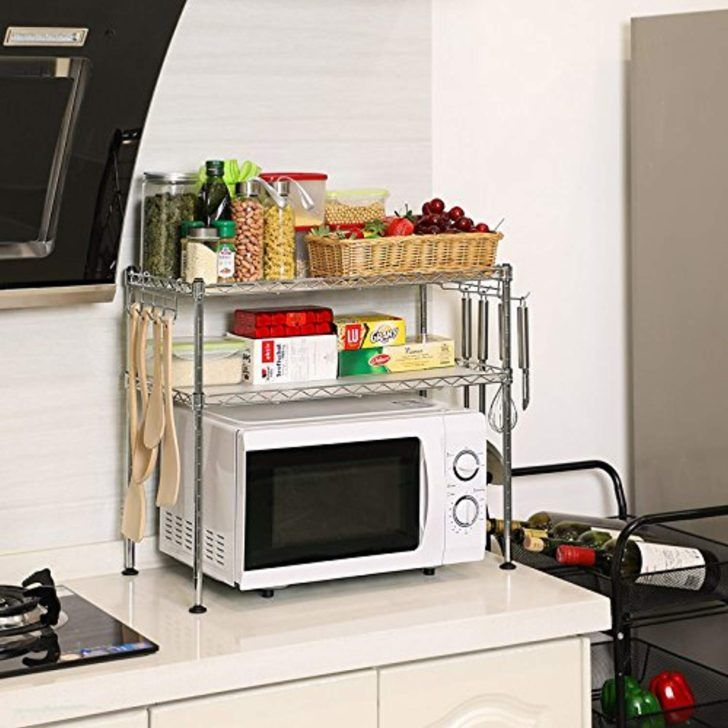 Etagere Micro Onde Songmics Etagere Cuisine Rangement Pour Micro Ondes Dotee Etages Reglables Et Crochets Petite Shelving Racks Plate Racks In Kitchen Shelves