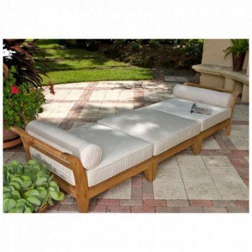Exclusively designed for Westminster with its distinctive sweeping lines and architecturally low profile frame, the Aman Dais collection can be arranged into many different configurations. Easily position the set into an outdoor daybed with the two end sectionals, and extend it with the ottoman/fill sectional in between. The Aman Dais 3 pc Teak Daybed features: 1 Aman Dais Ottoman/Fill Teak Sectional and 2 Aman Dais End Teak Sectionals.