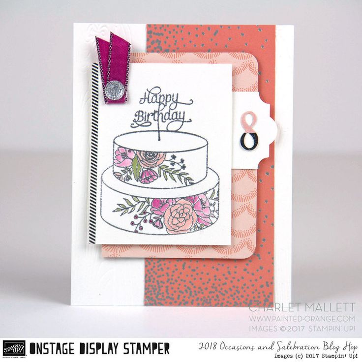 8th birthday card -Cake Soiree stamp set & embellishments - Charlet Mallett, Stampin' Up!Occasions Catalog 2018