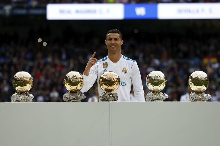 Cristiano Ronaldo Photos - Cristiano Ronaldo of Real Madrid CF poses with his five Golden Ball (Ballon d'Or) trophies   prior to start the La Liga match between Real Madrid CF and Sevilla FC at Estadio Santiago Bernabeu on December 9, 2017 in Madrid, Spain . - Real Madrid v Sevilla - La Liga