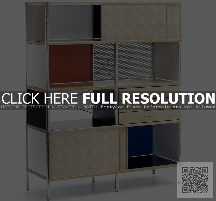 This Eames storage unit would work in a small space as it offers a wide range of storage space. and it is compact.