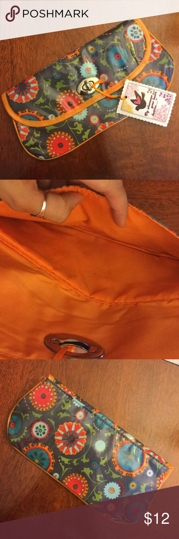 Cute floral makeup bag ! Floral navy and orange makeup bag