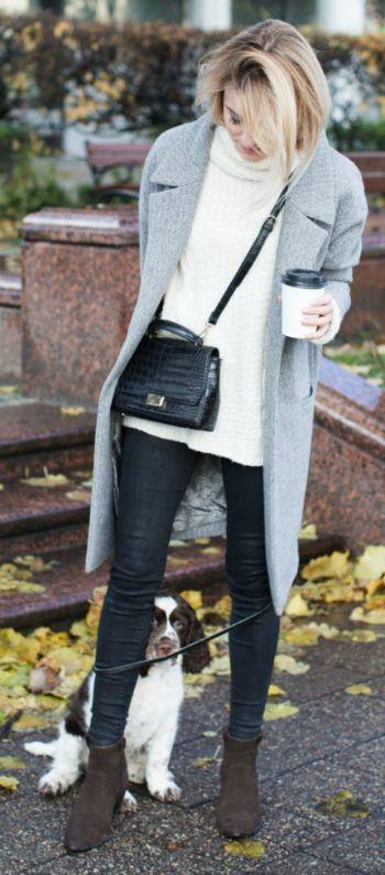 Katarzyna Tusk + casually glamorous + skinny black jeans + white knit sweater + sleek marl grey coat + suede boots + Katarzyna's vibe.   Sweater/Coat: MLE Collection, Jeans: Mango, Bag: Zara, Shoes: Massimo Dutti.