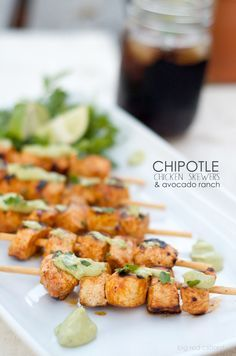chipotle lime chicke chipotle lime chicken skewers & avocado ranch Recipe : http://ift.tt/1hGiZgA And @ItsNutella  http://ift.tt/2v8iUYW