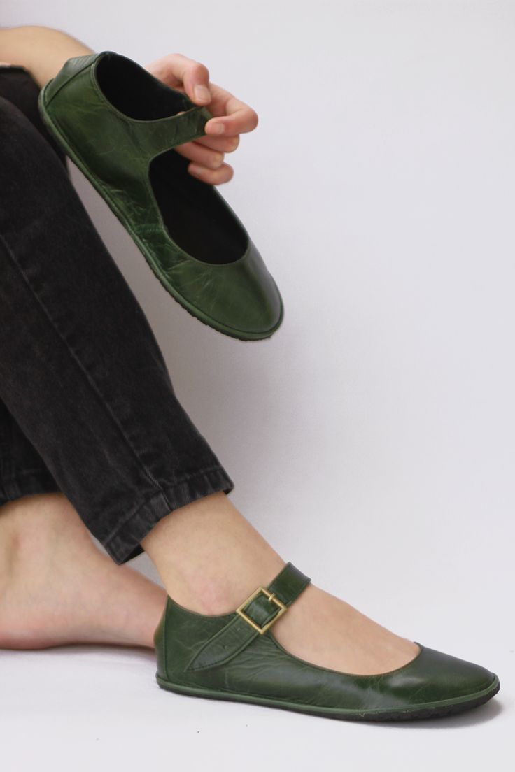 The Drifter Leather handmade shoes — Mary Janes - Alma Libre in Natural Green