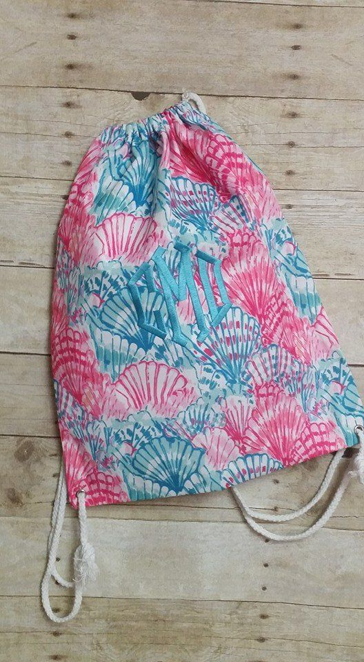 Monogrammed Lilly inspired drawstring bag