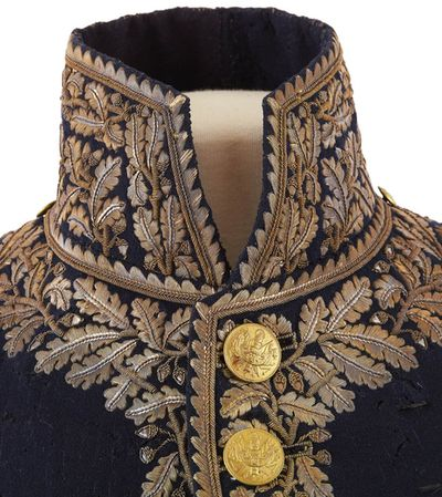 Dress uniform jacket belonging to Major General Prince Eugene, ca. 1812. close up of details on collar.