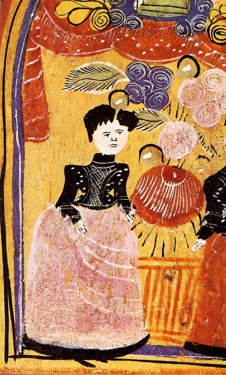 Gorodets painting Донце расписное. Деталь. Конец 19 века.