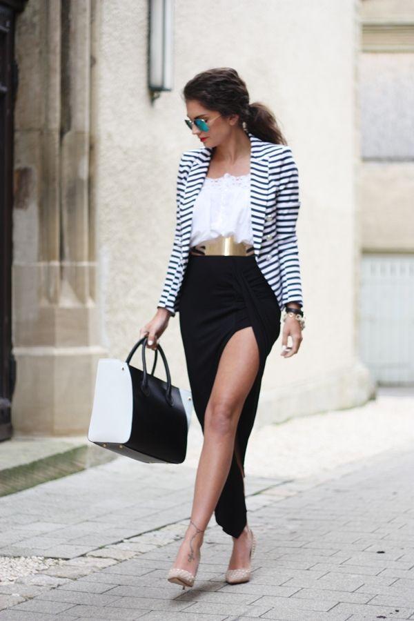 skirt: Love // shirt & blazer:both H // belt: Lookbookstore // sunnies: Ray-Ban // bracelets:// pumps: Dune & bag: Georgia Rose via Sarenza