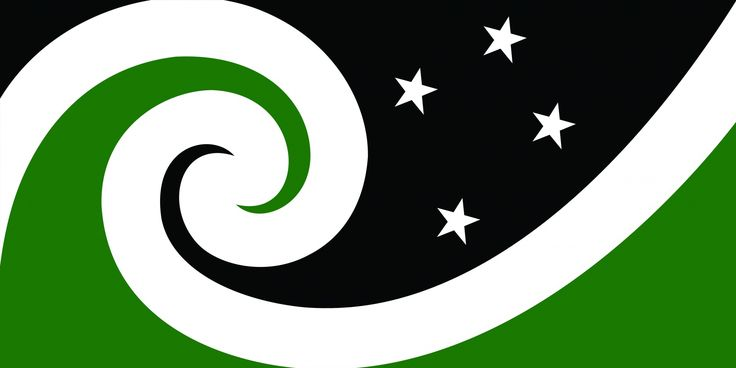 Manawa (Black & Green) by Otis Frizzell from Auckland, tagged with: Black, Green, White, Koru, Southern Cross, Kiwiana, Nature, Landscape, Māori culture.