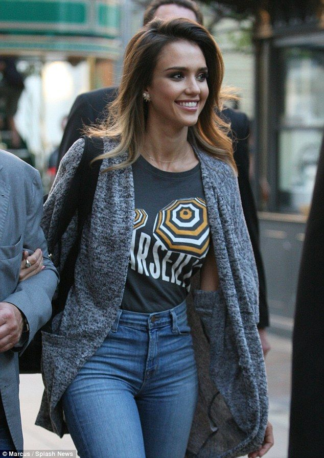 EVERY time I've just had my hair coloured I fall in love with another one...dammit, Alba!! Gorgeous: Jessica Alba rocked groovy bell bottoms at a Los Angeles screening of her film Barely Lethal at the Grove Thursday