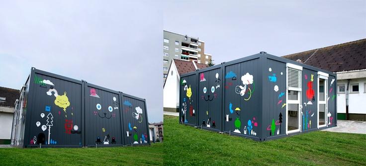 Guardería Temporal Adja / Temporary Kindergarten Adja - Archkids. Arquitectura para niños. Architecture for kids. Architecture for children.