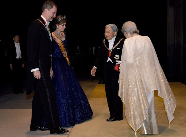 King Felipe VI and Queen Letizia arrived at the Imperial Palace in Tokyo for the state banquet hosted by Japanese Emperor Akihito and Empress Michiko on April 5, 2017. The Spanish royal couple is on a four-day state visit to Japan.