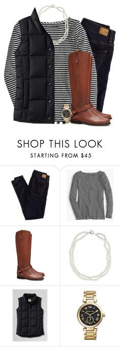 """""""Stripes, pearl & black down vest"""" by steffiestaffie ❤️ liked on Polyvore featuring American Eagle Outfitters, J.Crew, Tory Burch, BARONI, Lands' End, Michael Kors and Kate Spade"""