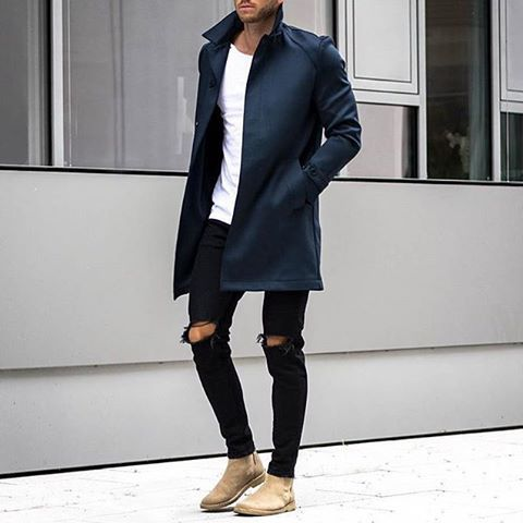fall is upon us // menswear, mens style, fashion, black denim, topcoat, tshirt, fall