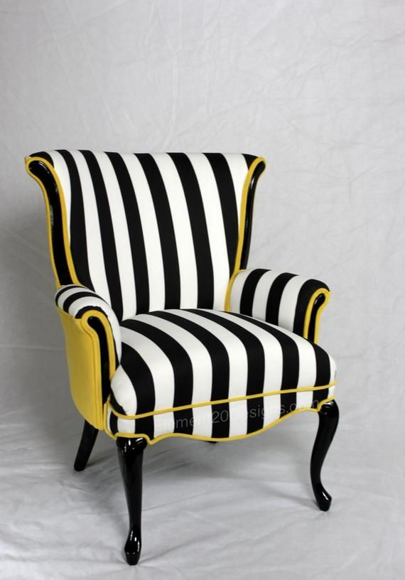 Sold Can Replicate Made In The Usa Black And White Striped Vintage Round Wing Back Chair With Yellow Velvet Mobilier De Salon Chaise Fauteuil Chaise Rayee