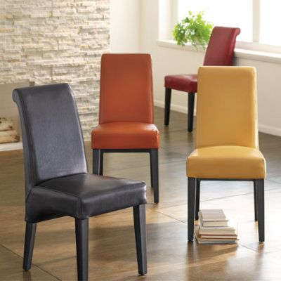 Orange leather parsons chair dining room pinterest for Leather parsons chairs dining room