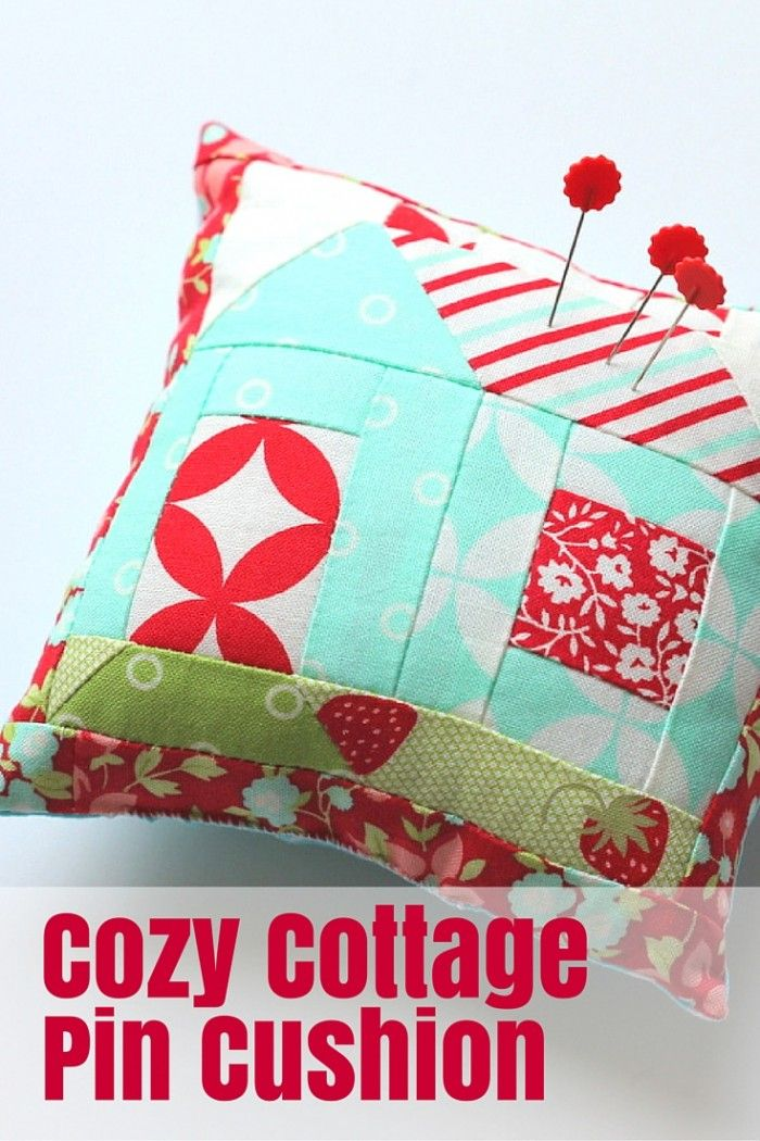 """Tutorial: Cozy Cottage Pin Cushion - The Crafty Mummy - how to make this cute pin cushion from a Lori Holt Cozy Cottage Calendar 4"""" block"""