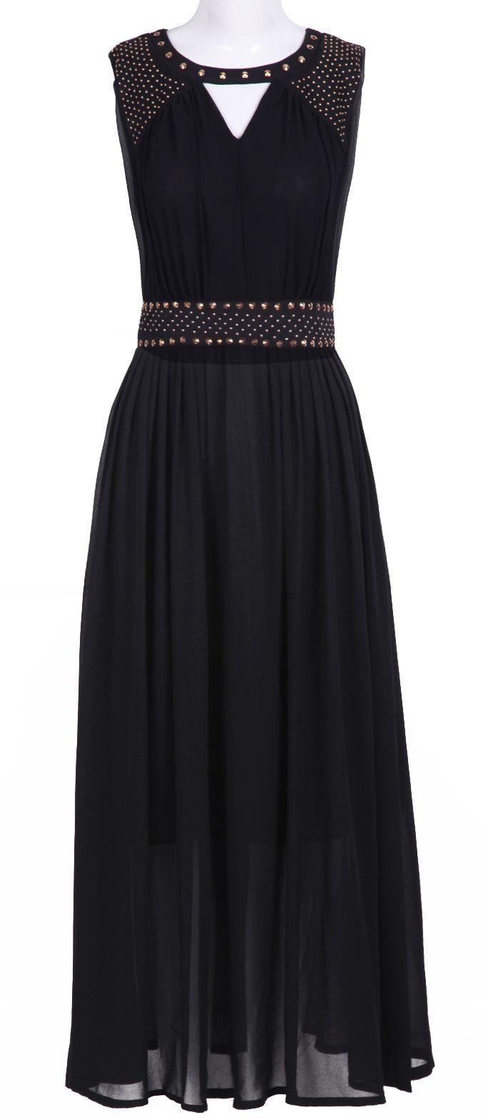 Black Sleevelss Cut Out Rivet Embellished Long Dress