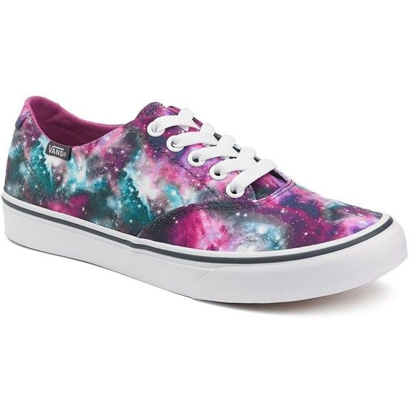 Vans Winston Decon Galaxy Women's Skate Shoes ($40) ❤ liked on Polyvore featuring shoes, sneakers, vans, galaxy, black, black shoes, black sneakers, black lace up sneakers, black lace shoes and lace shoes