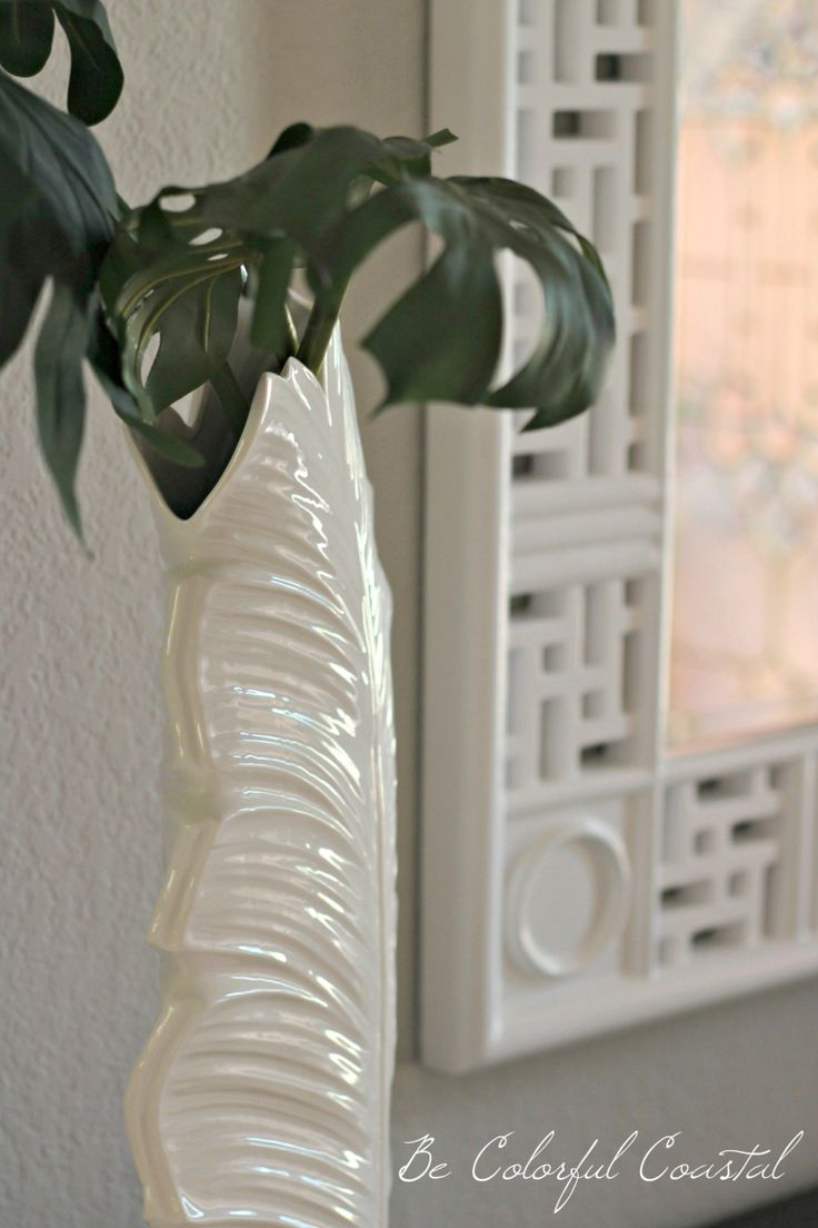all white tropical vase and Hollywood Regency framed mirror @ Be Colorful Coastal