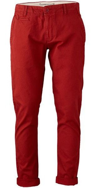 Twill Chinos Bossa Nova par Knowledge (couleur rouge) dans Pantalon / Jean - Homme - MODETIC - Vêtements en coton bio - mode équitable