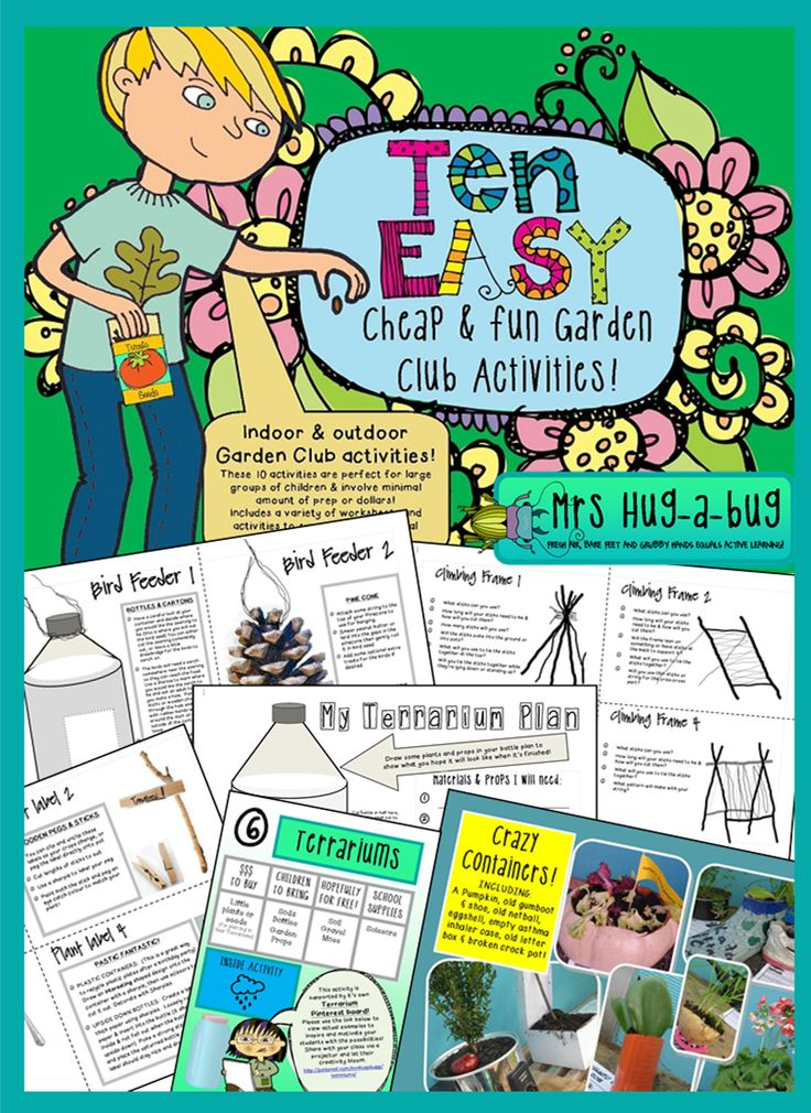 $ Teachers – tearing your hair out trying to dream up yet another activity for your lunchtime club? Then this is the pack for you! This Garden Club activity pack contains 10 fully supported indoor and outdoor gardening activities (make terrariums; climbing frames for your school gardens; bird feeders; collect and press flowers have a 'crazy container competition' and more!)