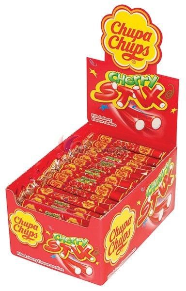 Cherry Stix Chupa Chups Fruit Flavoured Stick Sweets Candy 10g 10, 20, 30