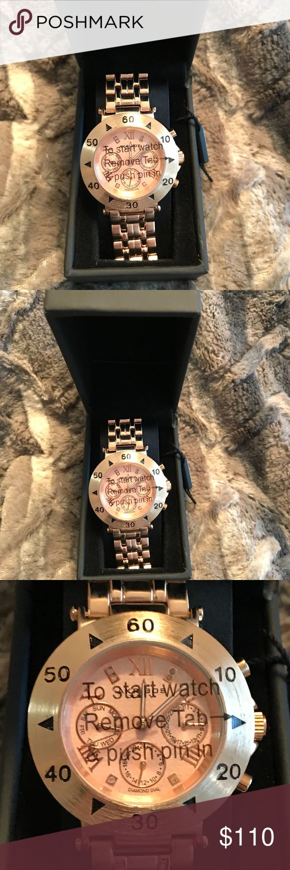 NWTLadies AKRIBOS XXIV Watch Gold & Pale pink face Brand New with tags! Akribos XXIV Ladies Gold Watch.  The face is pale pink and has 6 Diamond Accents. There are Roman Numerals for the numbers 2,4,8,10,12. The Akribos features not only the hours and minutes, but it has a dial for 24 hour (military time).  There are also separate dials for the month and the date. It hands glow in the dark and there is a second hand. The instructions along with the registration for the 2 yr warranty and…