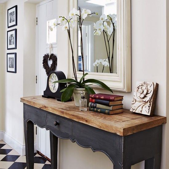 fab...love the reclaimed wood top with the black base. Would be a cute desk too!