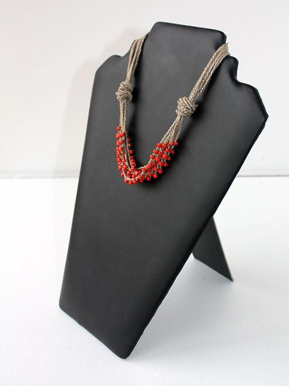 Linen necklace crocheted with coral red glass seed by boorashka, $18.00
