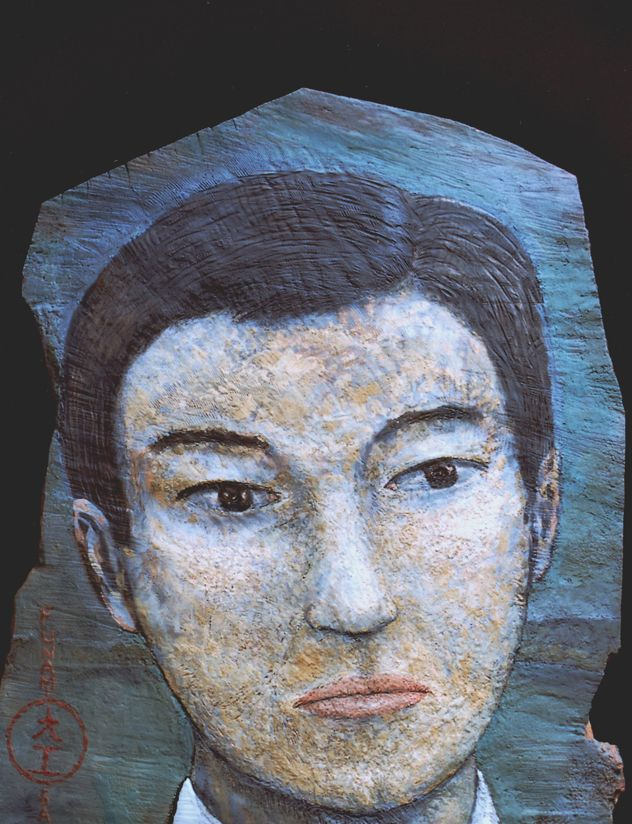 Funami-san Oil on carved oak