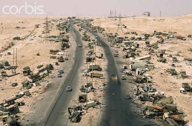 """""""Highway of Death"""" the Iraqi army retreating from Kuwait to Basra at the end of the Persian Gulf War."""