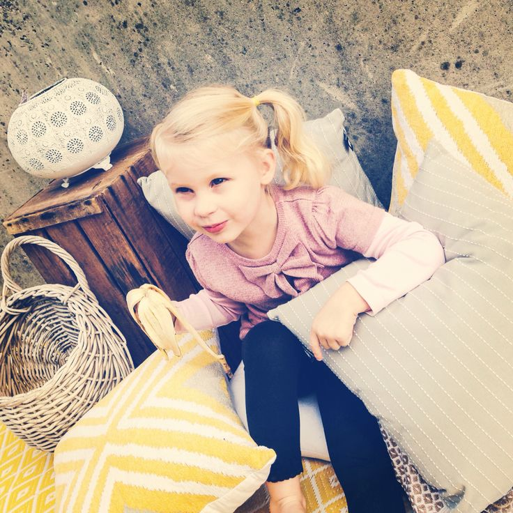 My little helper taking a morning tea break - cushions, home wares, vintage, recycled rug