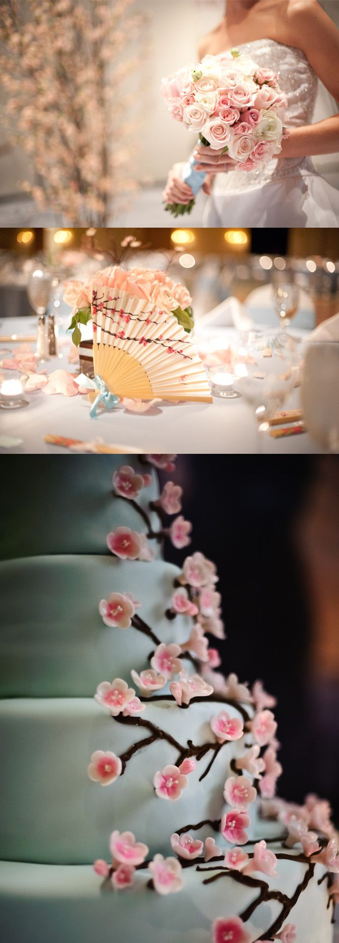 Multicultural Korean American Wedding Cherry Blossoms As Decor