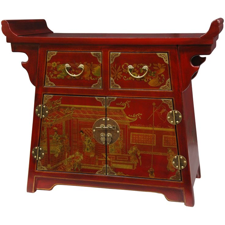 This Hand Painted Ming Art Motif Altar Cabinet Features A Wide Top Design  For Displaying