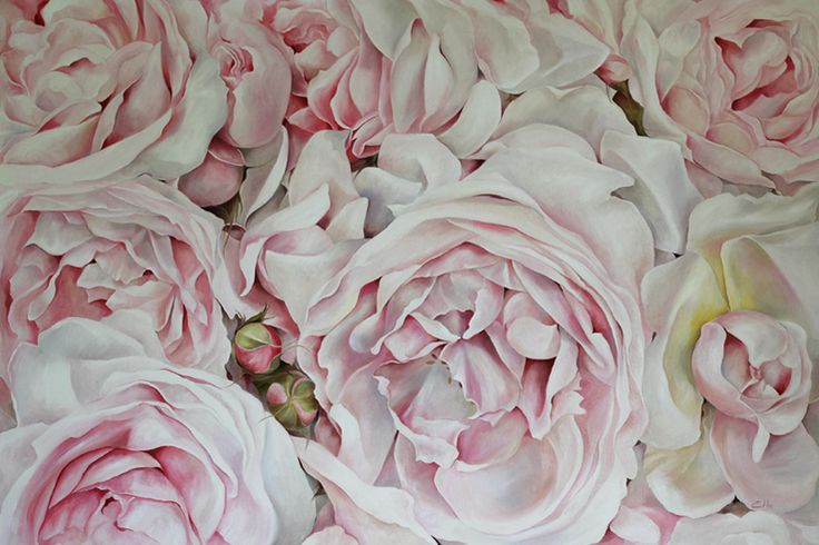 Bed of Roses (1.2m x 80cm) Oil on canvas painted by Ellie Eburne in 2015