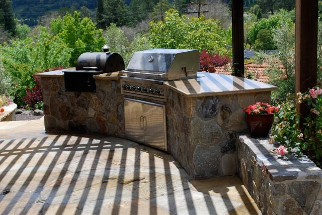 Built in traeger backyard inspiration pinterest for Outdoor kitchen smoker plans