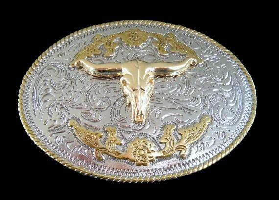 Longhorn Bull Texas Western Belt Buckle