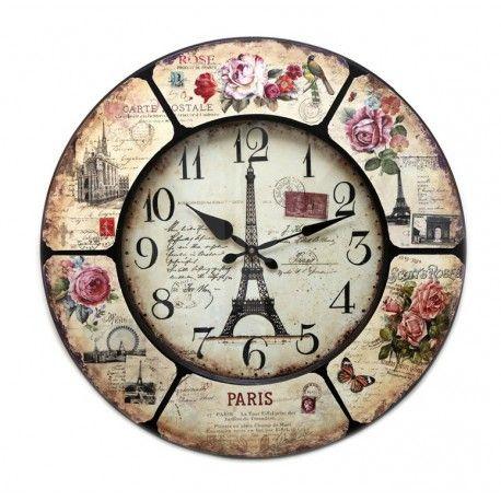 Reloj pared redondo Torre Eiffel Shabby Chic