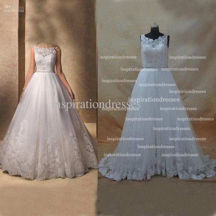 Atacado Sheer vestidos de casamento - Comprar Hot Selling Lace / Beads / lantejoulas A Linha tripulação decote até o chão Tulle Vestidos de casamento (Pegue um pedaço de Pearl Necklace para Free), 199,0 dólares | DHgate