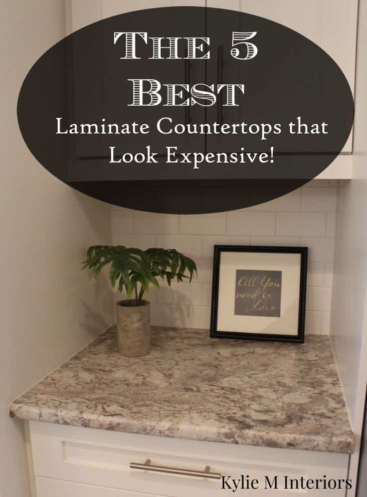 best laminate countertops that look like real granite, quartz and soapstone. From arborite and formica and pionite. Shown in kitchn with white cabinets, subway tile backsplash