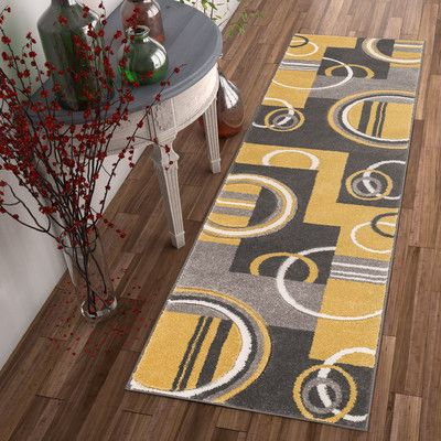 Well Woven Galaxy Wave Gold/Gray Area Rug Rug Size: Runner 2' x 7'