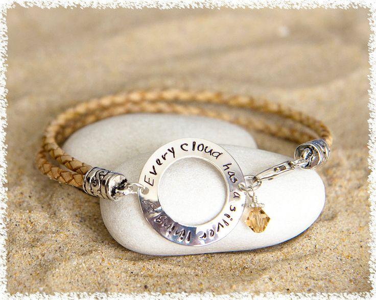 Leather Bracelet - Hand Stamped Bracelet - Personalized Jewelry