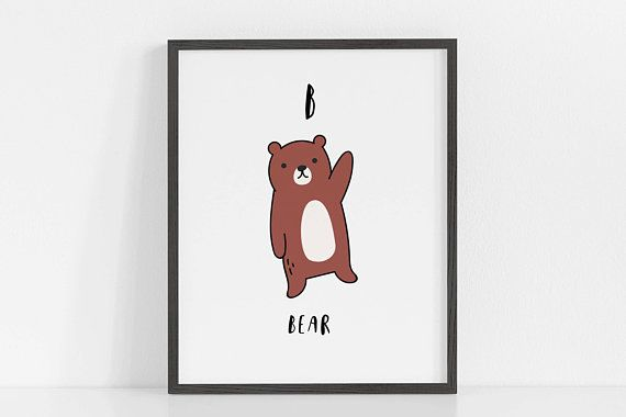 Alphabet Wall Art B Is For Bear Abc Nursery Art Nursery Etsy Alphabet Wall Art Abc Wall Art Abc Wall Decor