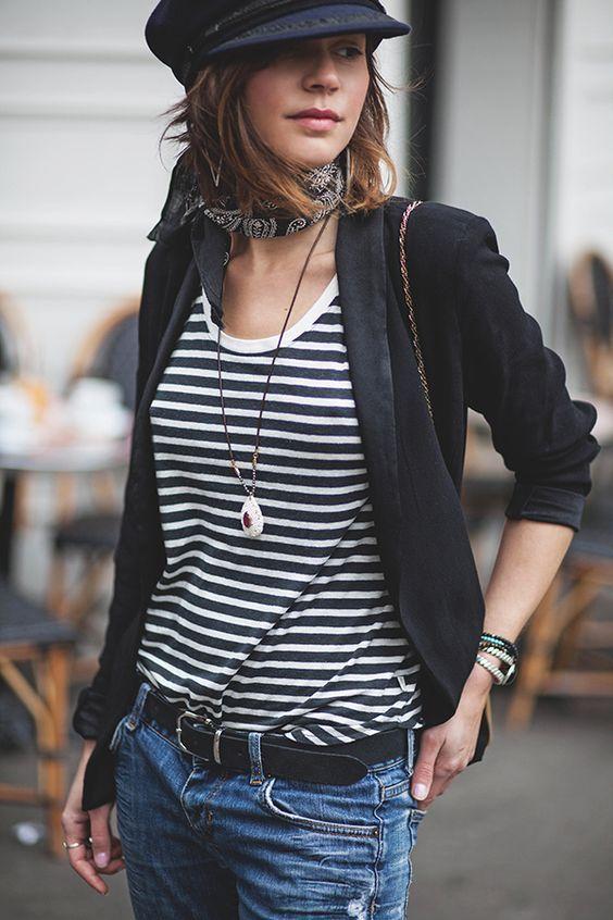 Stripped tee, black blazer.